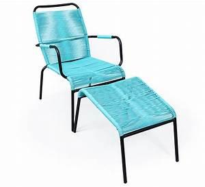 Fauteuil Repose Pied : fauteuil de jardin fil bleu turquoise repose pieds cancun 89 salon ~ Teatrodelosmanantiales.com Idées de Décoration