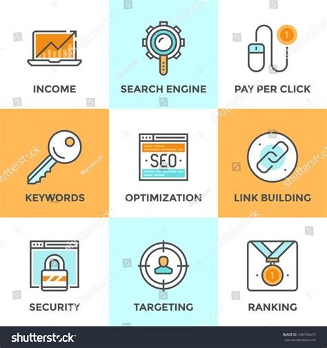 Search Engine Optimization Ranking - line icons set flat design search stock vector 248754673