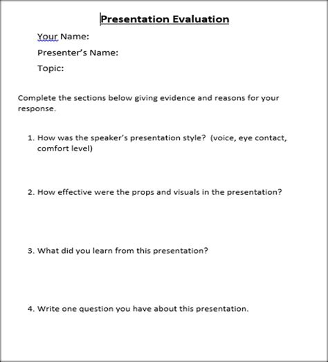 Presentation Evaluation Tool