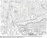 Coloring Pages Starry Gogh Night Van Famous Paintings Vincent Printable Adult Happyfamilyart Artists Colouring Template Nights Oil Fun Es Happy sketch template