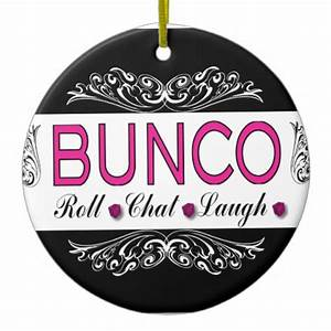 Bunco, Roll, Chat, Laugh In Pink, Black and White Ceramic