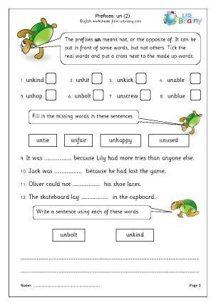 prefix un 2 worksheet for key stage 1