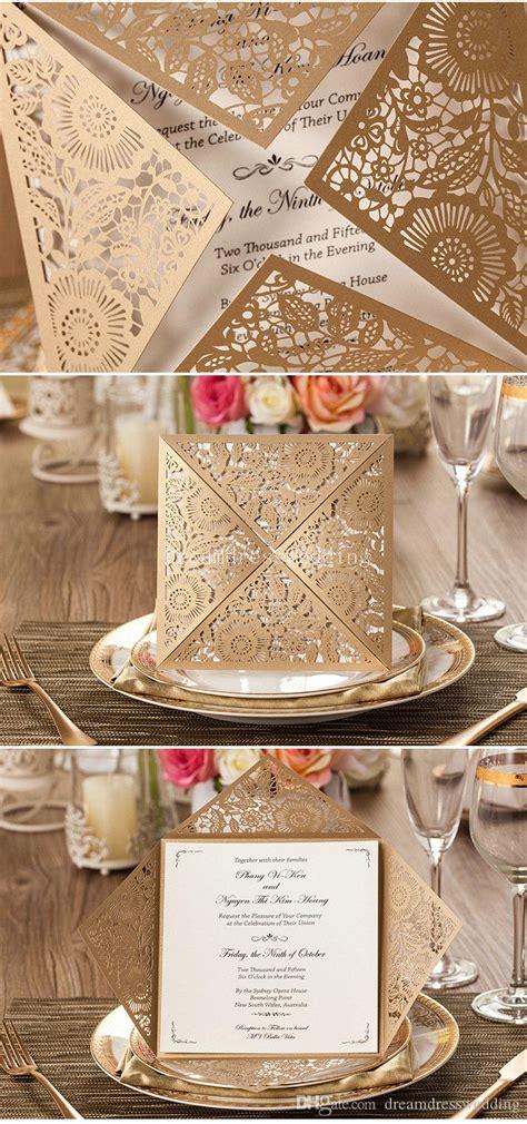Fast Shipping Wedding Invitations Card Rustic Laser Cut