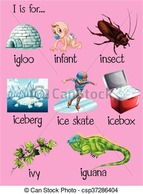 vector illustration of things that start with the letter o vector clipart of many words begin with letter i 12147