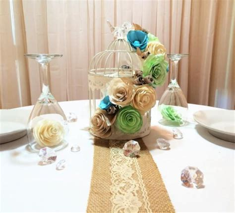 paper centerpieces for tables floral birdcage birdcage wedding centerpieces mint green