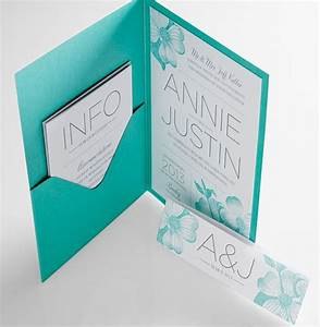 Aqua wedding invitations a neat pocket with printed for Printed pocketfold wedding invitations