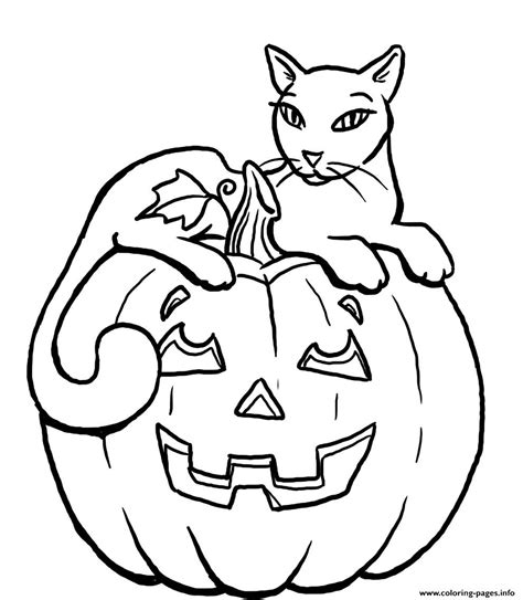 Pumpkin Halloween Black Cat S For Kidsc3f2 Coloring Pages