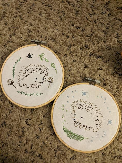 pair  hedgehog embroideries   reddit secret santa