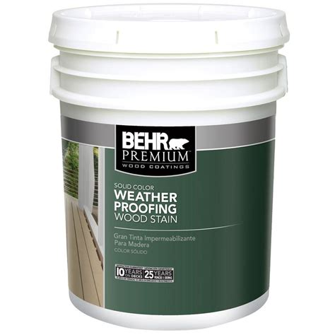 wood sealant home depot behr premium 5 gal white solid color weatherproofing all in one wood stain and sealer 501105