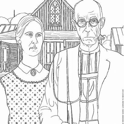 Coloring Sheets Famous American Gothic History Wood