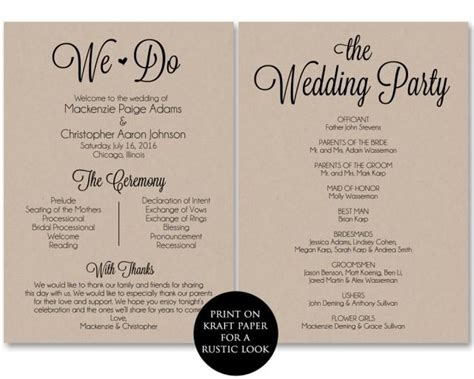 ceremony program template wedding program printable we do wedding printable template pdf