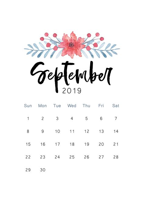 september  calendar printable template  word