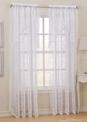 lace curtain panel with attached valance pin by kump on curtains drapes