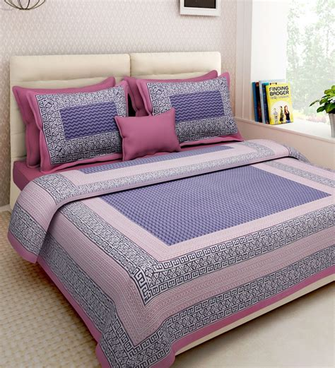 buy ethnic motif 160tc cotton size bed sheet with 2