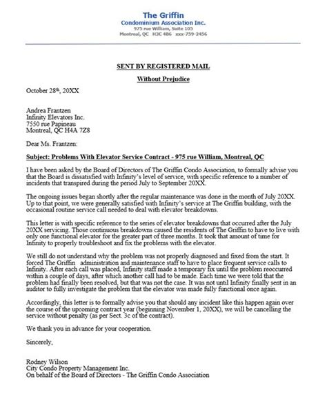 condo association complaint letter to elevator company re