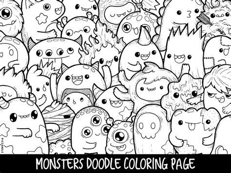 monsters doodle coloring page printable cutekawaii coloring