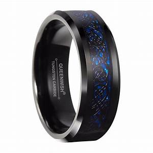 Queenwish 8mm black tungsten carbide ring silver color for Tungsten celtic wedding ring