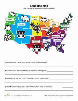 united states worksheets for 2nd grade land use map worksheet education com