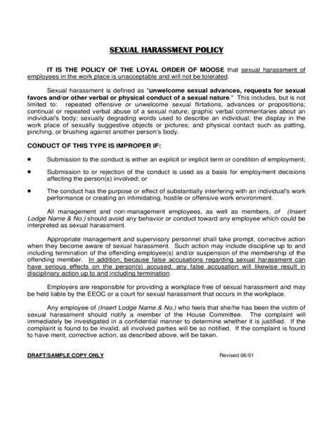 workplace harassment policy template sexual harassment policy free