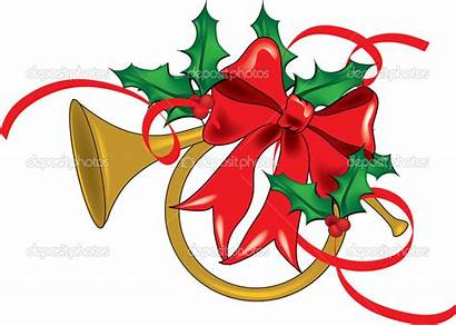 Clip Christmas Clipart Ribbon Horn December French