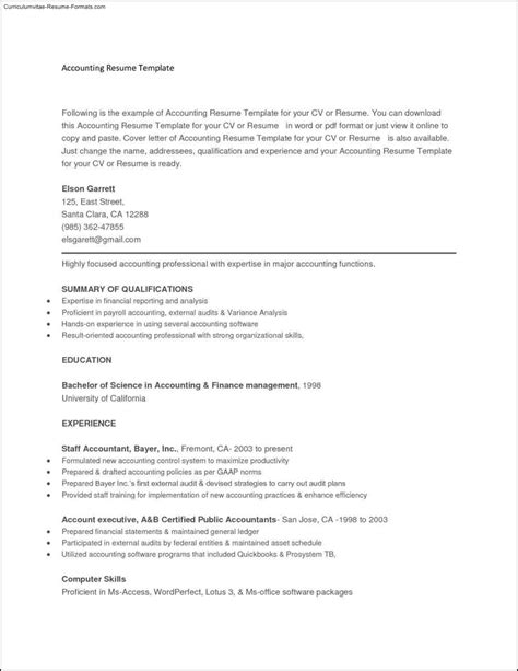 copy and paste resume templates free sles exles