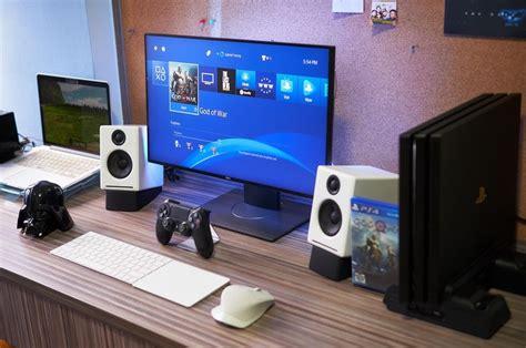 What further information can i view for ps4 games? Macbook Pro + PS4 Pro Desk Setup : macsetups | Desk setup, Computer setup