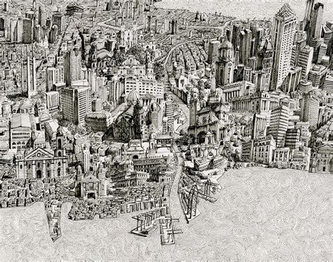 artist draws amazingly detailed fictional cityscapes