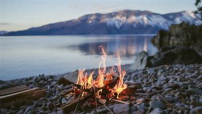 Fire Nature Mountain Lake Wallpapers Rock Camping