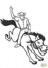 Coloring Cowboy Rodeo Bucking Riding Bronco Pages Bronc Rider Drawings Western Printable Template Drawing Sketch Supercoloring sketch template