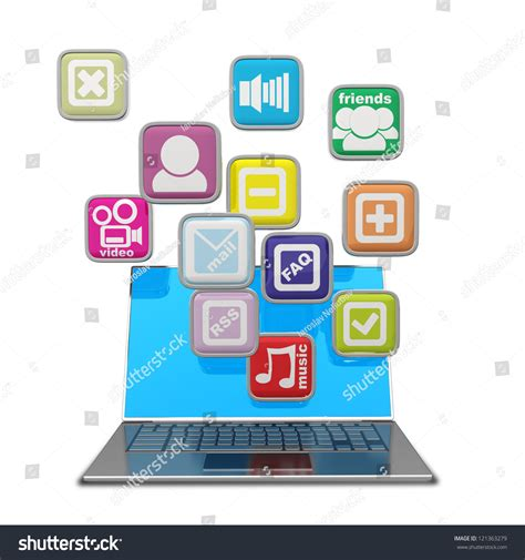 computer mobility laptop color application icons stock