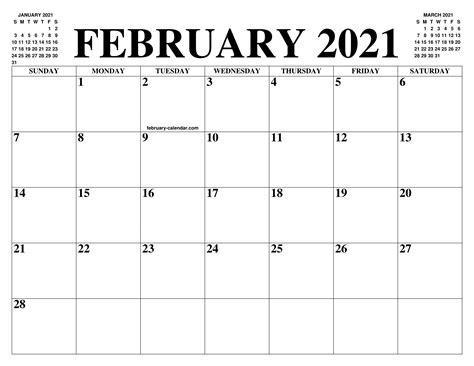 Get our free cute calendar app. FEBRUARY 2021 CALENDAR OF THE MONTH: FREE PRINTABLE ...