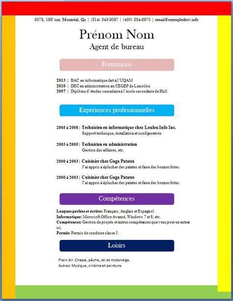 Modele Cv Couleur by Cv Gratuit Couleur