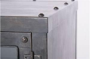 Meuble Gris Anthracite : mobilier industriel meuble tv en m tal gris anthracite meuble tv atelier ~ Teatrodelosmanantiales.com Idées de Décoration