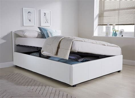 11487 storage bed frame side lift ottoman storage bed frame in white faux