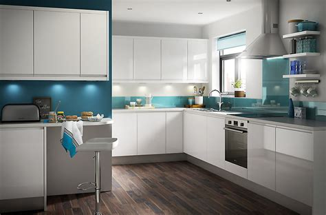 glossy white kitchen it marletti white gloss with integrated handle diy at b q