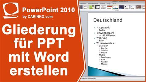gliederung  powerpoint erstellen mit ms office word