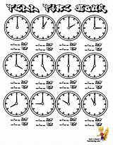 Clock Coloring Tell Printable Hour Worksheets Learning Clocks Chart Sheets Telling Hours Learn Yescoloring Printables Fearless Face Practice Colouring Write sketch template