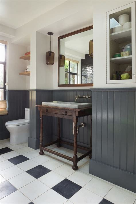 White Wainscoting Bathroom by Eclectic With Gray Wainscoting Black And White Floor Tile