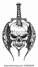 Dagger Skull Vector Impaled Hand Winged Drawn Knife Daggers Rose Illustration Shutterstock Head Cartoon Heart Eye Funny Stickers Cards Cute sketch template