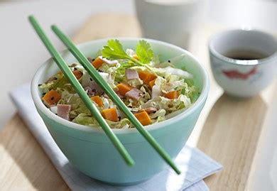 cuisiner le chou chinois marmiton salade de chou chinois jambon mimolette recette interfel