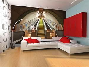 GIANT WALLPAPER WALL SUBWAY TRAIN STATION LONDON ...