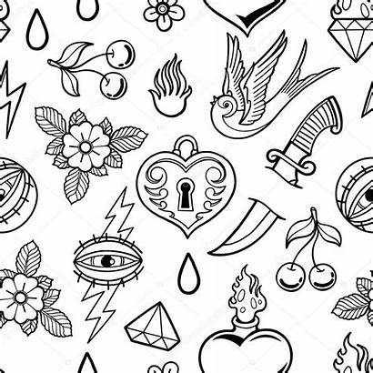 Tattoo Coloring Graphic Traditional Clipart Outline Inspired