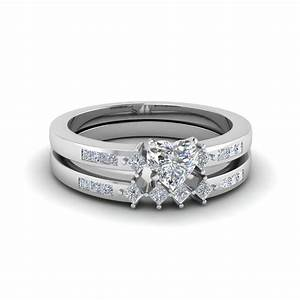 heart shaped kite style channel set accent diamond wedding With heart shaped diamond wedding ring sets