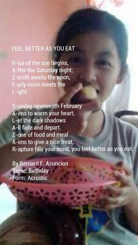 Feel Better As You Eat Poem By Bernard F Asuncion Poem