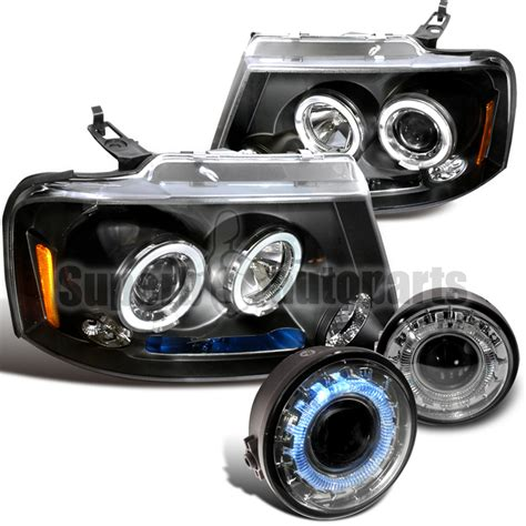 2006 2008 ford f150 projector headlights black clear halo