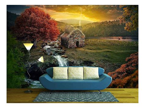 Wall26 Beautiful Nature Scene With Cottage In The