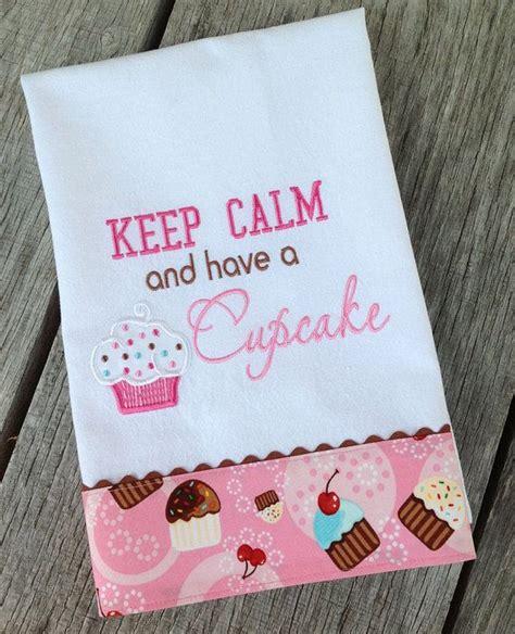 cupcake kitchen decor keep calm and a cupcake kitchen towel pink brown