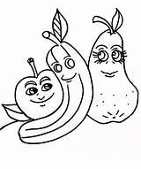 Coloring Bananas Funny Printable Banana Apples Dancing Papaya sketch template