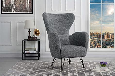 mid century modern linen fabric accent armchair