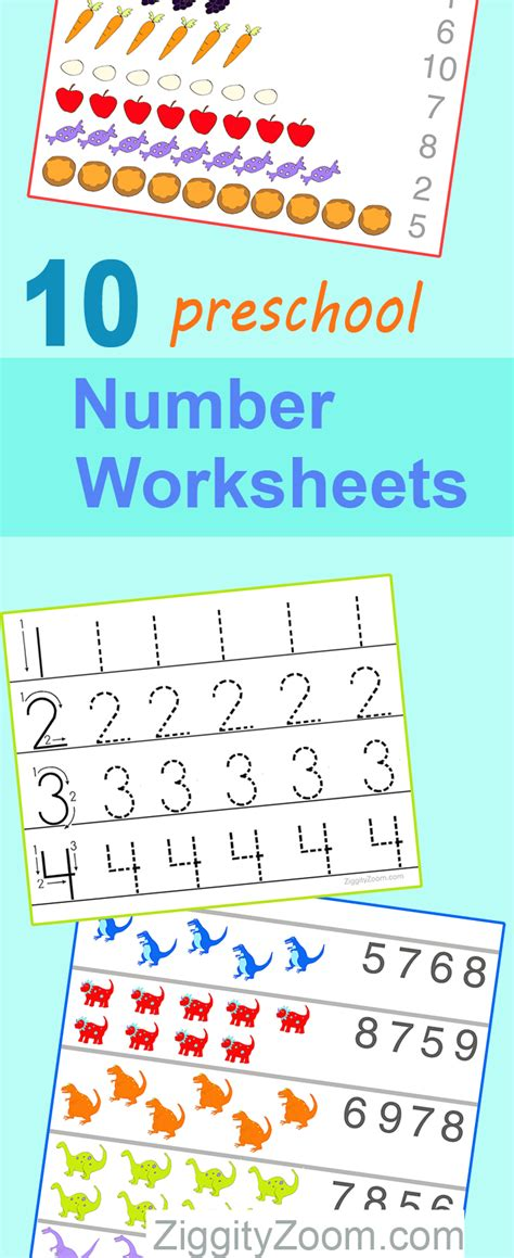 10 preschool math worksheets number recognition